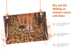 Boy And Girl Walking On Autumn Leaves With Bikes Ppt PowerPoint Presentation File Slides
