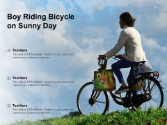 Boy Riding Bicycle On Sunny Day Ppt PowerPoint Presentation Show Graphics