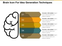 Brain Icon For Idea Generation Techniques Ppt PowerPoint Presentation Visual Aids Model