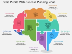 Brain Puzzle With Success Planning Icons Powerpoint Template