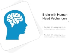 Brain With Human Head Vector Icon Ppt PowerPoint Presentation File Slideshow PDF