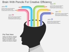 Brain With Pencils For Creative Efficiency Powerpoint Template