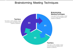 Brainstorming Meeting Techniques Ppt PowerPoint Presentation Summary Inspiration Cpb Pdf