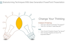 Brainstorming Techniques With Idea Generation Powerpoint Presentation