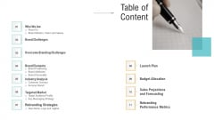 Brand Advancement Table Of Content Ppt PowerPoint Presentation Outline Show PDF
