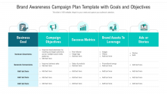 Brand Awareness Campaign Plan Template With Goals And Objectives Ppt Icon Summary PDF