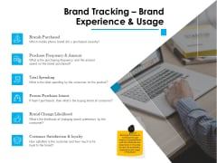 Brand Building Brand Tracking Brand Experience And Usage Ppt Pictures Mockup PDF