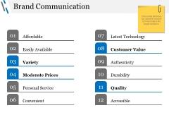 Brand Communication Ppt PowerPoint Presentation Infographics Master Slide