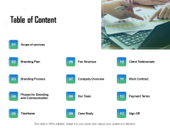 Brand Communication Strategy Table Of Content Ppt Styles Guide PDF