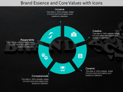 Brand Essence And Core Values With Icons Ppt PowerPoint Presentation Pictures Slides