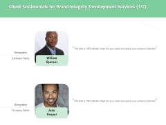 Brand Identification Designing Proposal Client Testimonials For Brand Integrity Development Services Communication Formats PDF