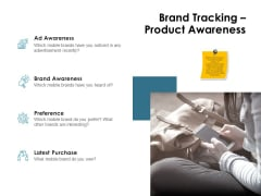 Brand Identity How Build It Brand Tracking Product Awareness Ppt Gallery Brochure PDF