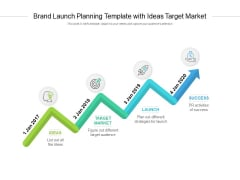 Brand Launch Planning Template With Ideas Target Market Ppt PowerPoint Presentation Styles Icons
