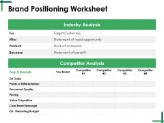 Brand Positioning Worksheet Ppt PowerPoint Presentation Summary Example Introduction