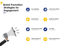 Brand Promotion Strategies For Engagement Ppt PowerPoint Presentation Layouts Visuals