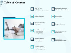 Branding Approach Marketing Strategies Table Of Content Ppt Summary Backgrounds PDF