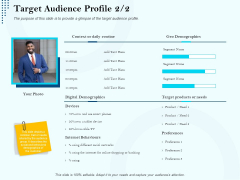 Branding Approach Marketing Strategies Target Audience Profile Devices Ppt Model Layout Ideas PDF