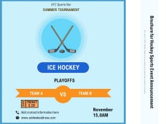 Brochure For Hockey Sports Event Announcement Ppt PowerPoint Presentation Gallery Diagrams PDF