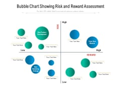 Bubble Chart Showing Risk And Reward Assessment Ppt PowerPoint Presentation Gallery Topics PDF