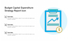 Budget Capital Expenditure Strategy Report Icon Ppt PowerPoint Presentation Gallery Show PDF
