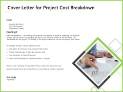 Budget Cost Project Plan Cover Letter For Project Cost Breakdown Microsoft PDF