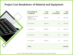 Budget Cost Project Plan Project Cost Breakdown Of Material And Equipment Slides PDF