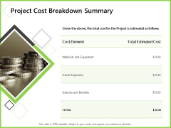 Budget Cost Project Plan Project Cost Breakdown Summary Ppt Outline Templates PDF