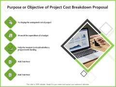 Budget Cost Project Plan Purpose Or Objective Of Project Cost Breakdown Proposal Rules PDF