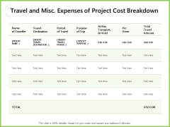 Budget Cost Project Plan Travel And Misc Expenses Of Project Cost Breakdown Topics PDF