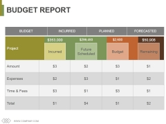 Budget Report Ppt PowerPoint Presentation Slides Graphics Template