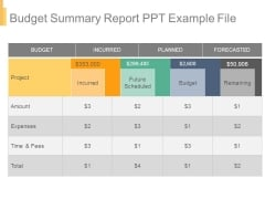 Budget Summary Report Ppt Example File
