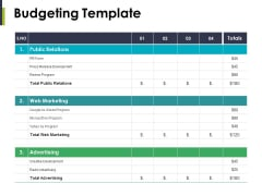 Budgeting Template Ppt PowerPoint Presentation Gallery Inspiration