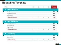 Budgeting Template Ppt PowerPoint Presentation Inspiration Skills