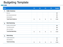 Budgeting Template Ppt PowerPoint Presentation Outline Example Topics