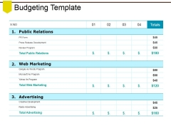 Budgeting Template Ppt PowerPoint Presentation Styles Pictures
