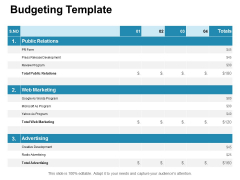Budgeting Template Web Marketing Ppt PowerPoint Presentation Infographics Format Ideas