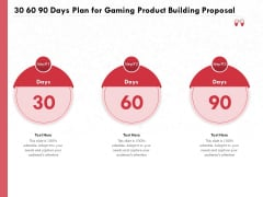 Build A Gaming Computer 30 60 90 Days Plan For Gaming Product Building Proposal Demonstration PDF
