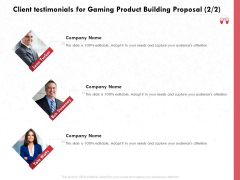 Build A Gaming Computer Client Testimonials For Gaming Product Building Proposal Pictures PDF
