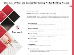 Build A Gaming Computer Statement Of Work And Contract For Gaming Product Building Proposal Infographics PDF