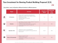 Build A Gaming Computer Your Investment For Gaming Product Building Proposal Cost Clipart PDF