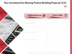 Build A Gaming Computer Your Investment For Gaming Product Building Proposal Designs PDF