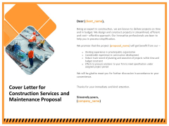 Building Assembly Conservation Solutions Cover Letter For Construction Services And Maintenance Proposal Brochure PDF