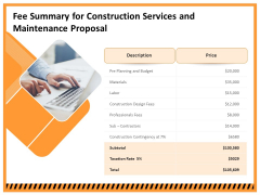 Building Assembly Conservation Solutions Fee Summary For Construction Services And Maintenance Proposal Mockup PDF