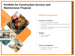 Building Assembly Conservation Solutions Portfolio For Construction Services And Maintenance Proposal Introduction PDF