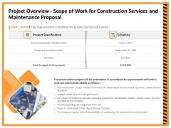 Building Assembly Conservation Solutions Project Overview Scope Of Work For Construction Services Infographics PDF