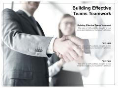 Building Effective Teams Teamwork Ppt PowerPoint Presentation Icon Brochure Cpb
