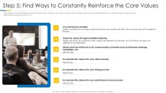 Building Efficient Work Environment Step 5 Find Ways To Constantly Reinforce The Core Values Summary PDF