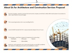 Building Engineering Services Proposal About Us For Architecture And Construction Services Proposal Formats PDF