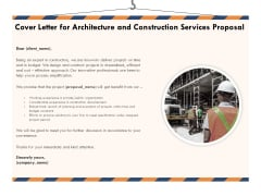 Building Engineering Services Proposal Cover Letter For Architecture And Construction Services Proposal Brochure PDF