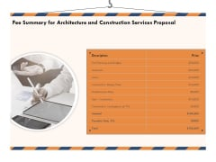 Building Engineering Services Proposal Fee Summary For Architecture And Construction Services Proposal Designs PDF